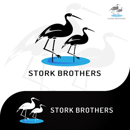 This logo has a picture of stork brothers. This logo is good to use as a company logo or various other creative businesses as needed. But it can also be used as an application logo. 向量圖像