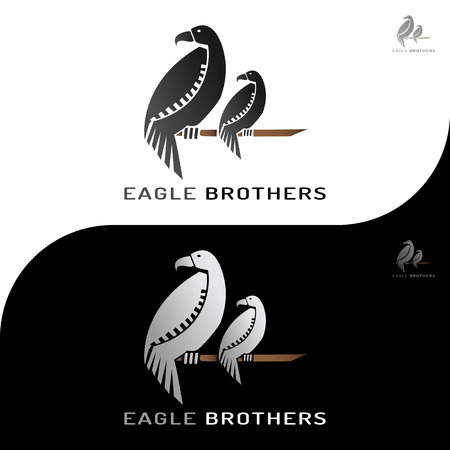 This logo is a picture of two eagle brothers clutching a tree trunk. This logo is good to use as company logos and various businesses as needed and can also be used as application logos.
