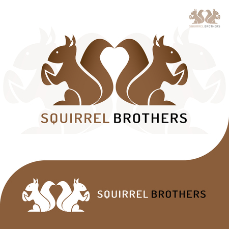This logo has a picture of two squirrel brothers holding beans. This logo is good to use as a company logo and various other creative businesses as needed and can also be used as an application logo. 矢量图像