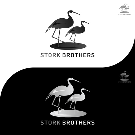 This logo has a picture of stork brothers. This logo is good to use as a company logo or various other creative businesses as needed. But it can also be used as an application logo. Illustration