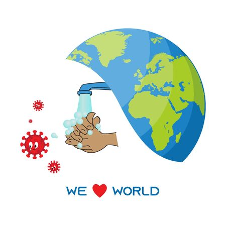 This illustration depicts an earth and a pair of hands washing their hands with soap from running water from a water tap, where many COVID-19 viruses escape because of fear of soap. This illustration is intended for everyone to take care of their health so that world health will also be maintained. Ilustrace