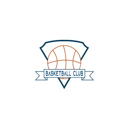 """This picture is the logo for the basketball club. Which has a basketball and in the middle there is a ribbon that reads """"BASKETBALL CLUB"""". Then behind it was a shield-shaped embroidery."""