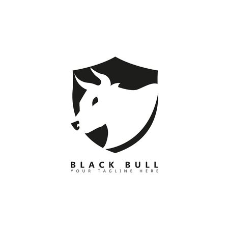 This is a picture of a bull behind which there is a picture of a shield. This picture is suitable for company logos about animal husbandry.