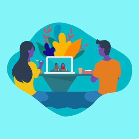 This is a flat design illustration of a family eating together online with relatives or family very far away in the middle of the COVID-19 pandemic