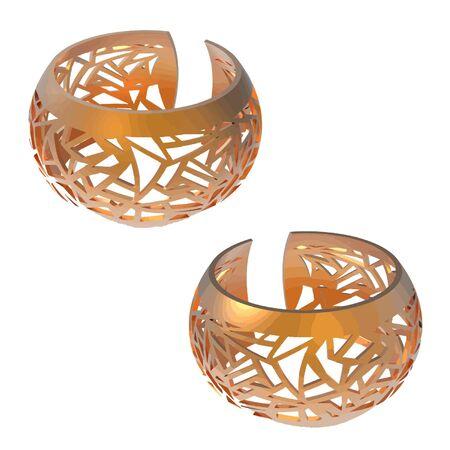 gold bracelet render vector image Illustration