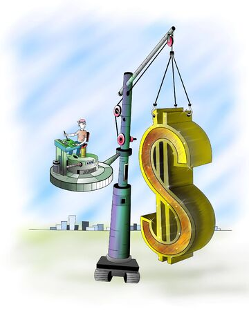The big mark of dollar relocatable with the help of the elevating crane Stock Photo