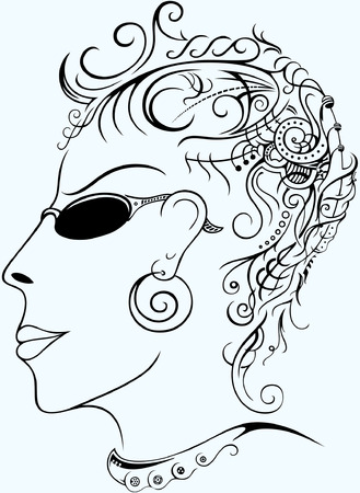 Vector silhouette of a womans face. format.