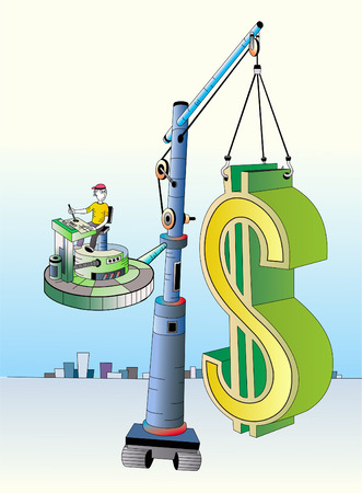 The big mark of dollar relocatable with the help of the elevating crane. Stock Vector - 4854267