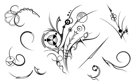 Artistic Design Elements vectorized from hand-drawing image Illustration