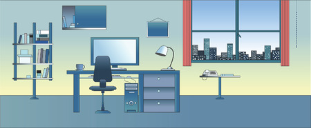 Vector illustration : Cabinet  Study  Office Illustration