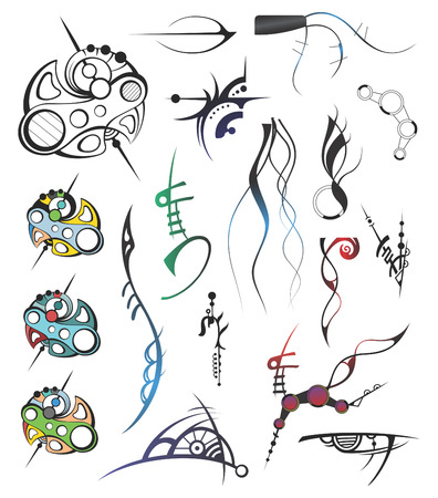 Artistic Design Elements vectorized from hand-drawing image Stock Vector - 4887837