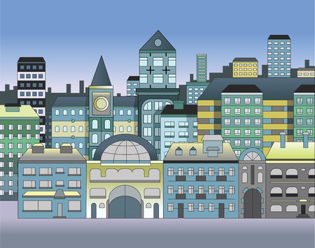 Various vector houses making a townscape.