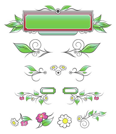Natural Decorative Elements from hand-drawing sketch. Layersparts can be easily changed.