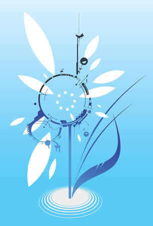 Digital Flower vector illustration. Layersparts easily removable and can be easily changed.