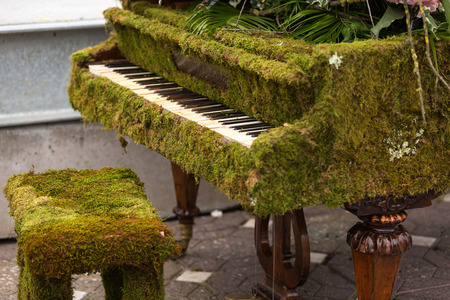 old piano: Old piano dress in green moss and flowers
