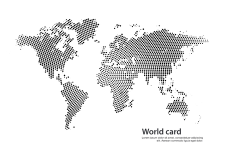 The world card consisting of points on a white background Illustration