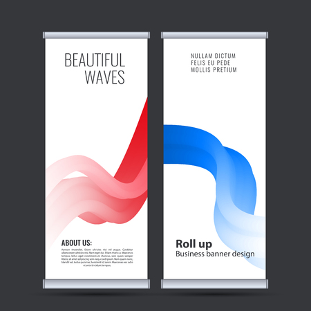 Roll up business banner design vertical template vector. Banco de Imagens - 116734433