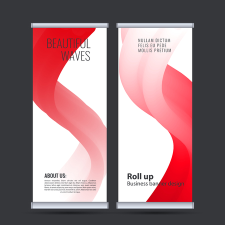Roll up business banner design vertical template vector. Banco de Imagens