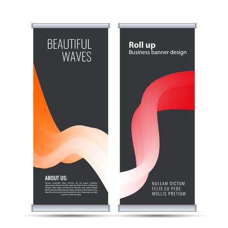 Roll up business banner design vertical template vector. Banco de Imagens - 116734440