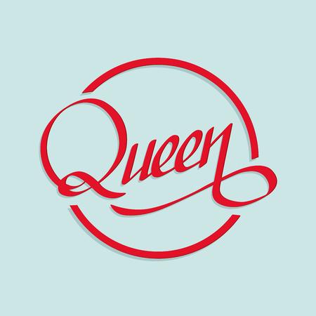 Handwritten lettering, phrase for design.Design element.Queen. Ilustração