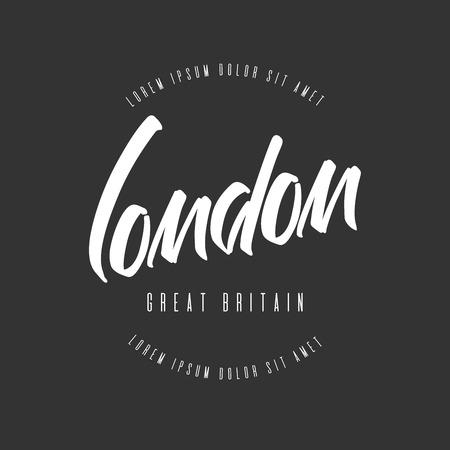 Handwritten lettering, phrase for design.Design element. London. Ilustração