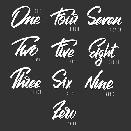 Handwritten lettering, phrase for design.Design element. Numbers.Can be printed on greeting cards, paper and textile designs. Ilustração