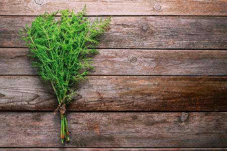 equisetum: Bunch of herb equisetum arvense on wooden  Stock Photo