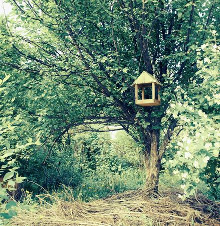 Feeder for birds in summer garden. With a vintage retro filter photo