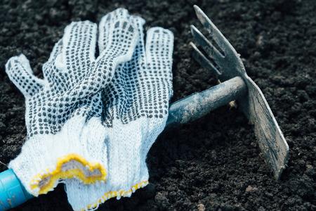 mattock: Gardening hoe and gloves on land