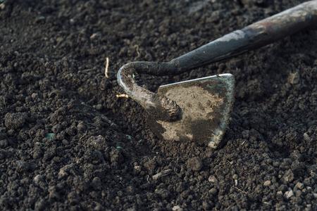 mattock: Gardening hoe tool on land