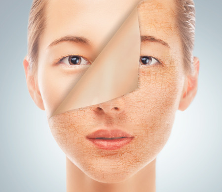 Portrait of beautiful woman with new smooth skin after cosmetic procedure, concept of beauty and skincare