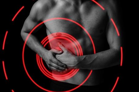 higado humano: Dolor en el lado derecho del abdomen, dolor de área de color rojo