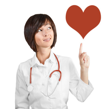 Female doctor indicates on the heart photo