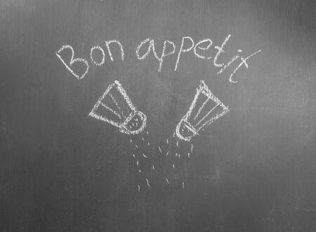 bon: Seasonings painted on gray board
