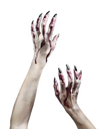 monster hand: Zombie hands in the blood on white background.