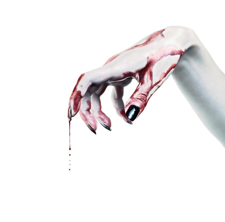 dead: Drops of blood on the dead hand Stock Photo