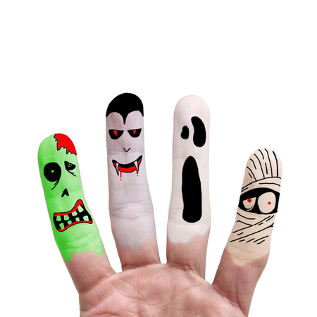 halloween costume: Painted finger monsters halloween: zombie, vampire, mummy, ghost on white background