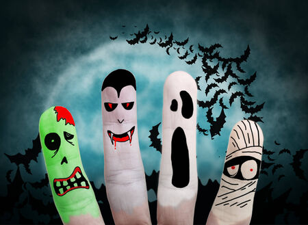 ghost mask: Painted finger monsters halloween: zombie, vampire, mummy, ghost