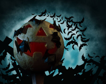 Carved Halloween pumpkin and bats on a background of the moon