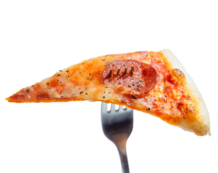 eating pizza: Slice of pizza on a fork on a white background Stock Photo