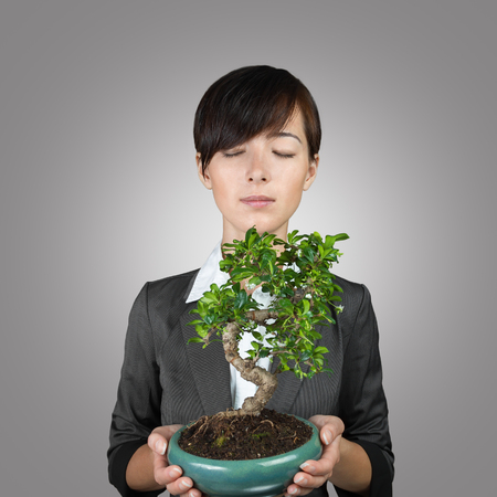 houseplant: Business woman holding a bonsai tree