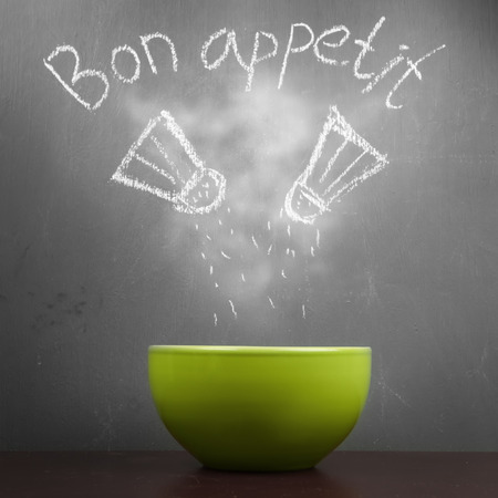 bon: Bowl on a blackboard background with a pattern