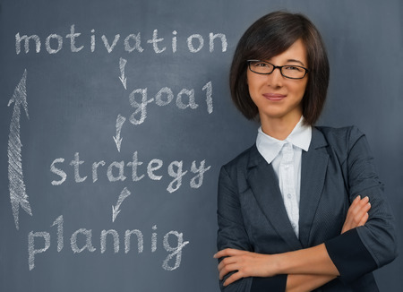 business attire teacher: Happy young woman stands near the blackboard with business plan of motivation