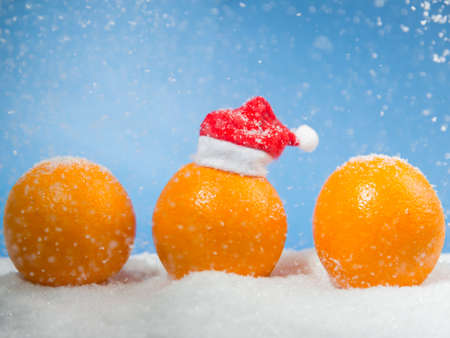 santa cap: Three oranges in the snow on a blue background, one orange in a small santa hat