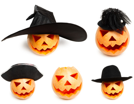 Carved pumpkin in different hats on white . Collage