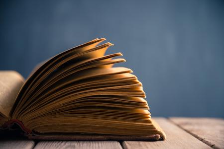 hojas antiguas: Libro abierto en primer plano en Foto de archivo