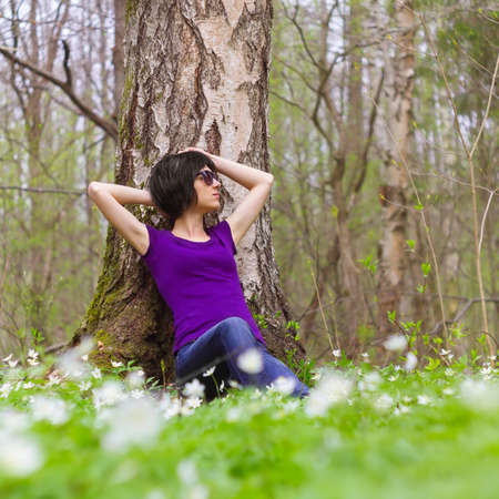 decided: Woman decided to rest in the forest
