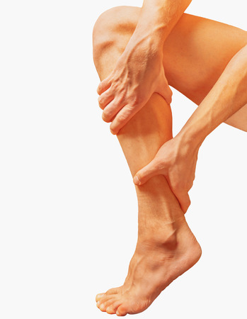 calf pain: Acute pain in the male calf muscle, on a white background Stock Photo