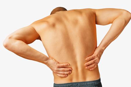 Akute Schmerz in einem männlichen unteren Rücken, auf einem weißen Hintergrund