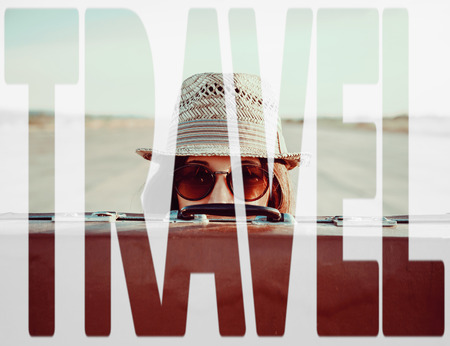Double exposure word travel combined with image of traveler woman with suitcase. Concept of travel